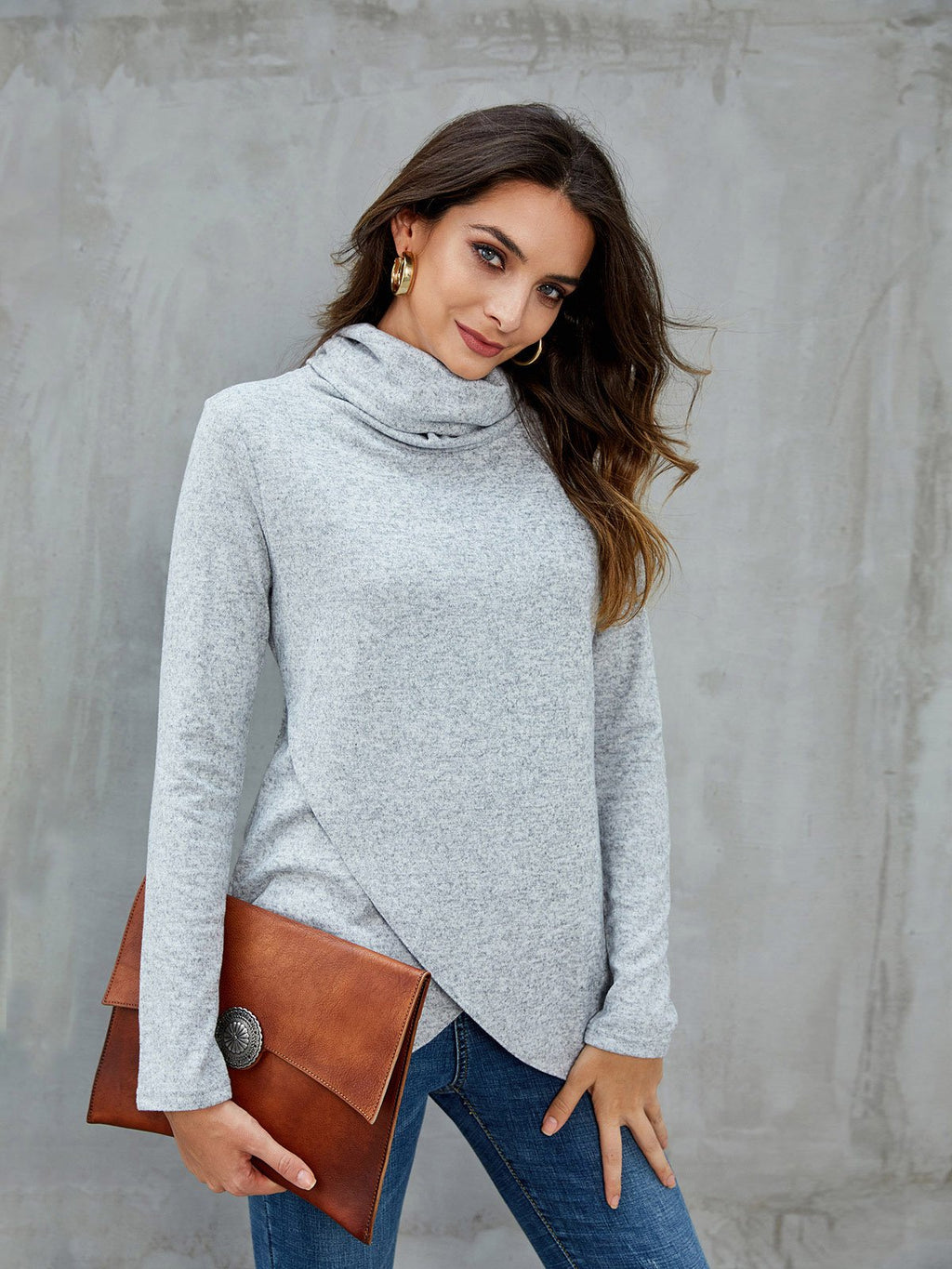 Gray Casual Solid Cowl Neck Asymmetrical Sweatshirts