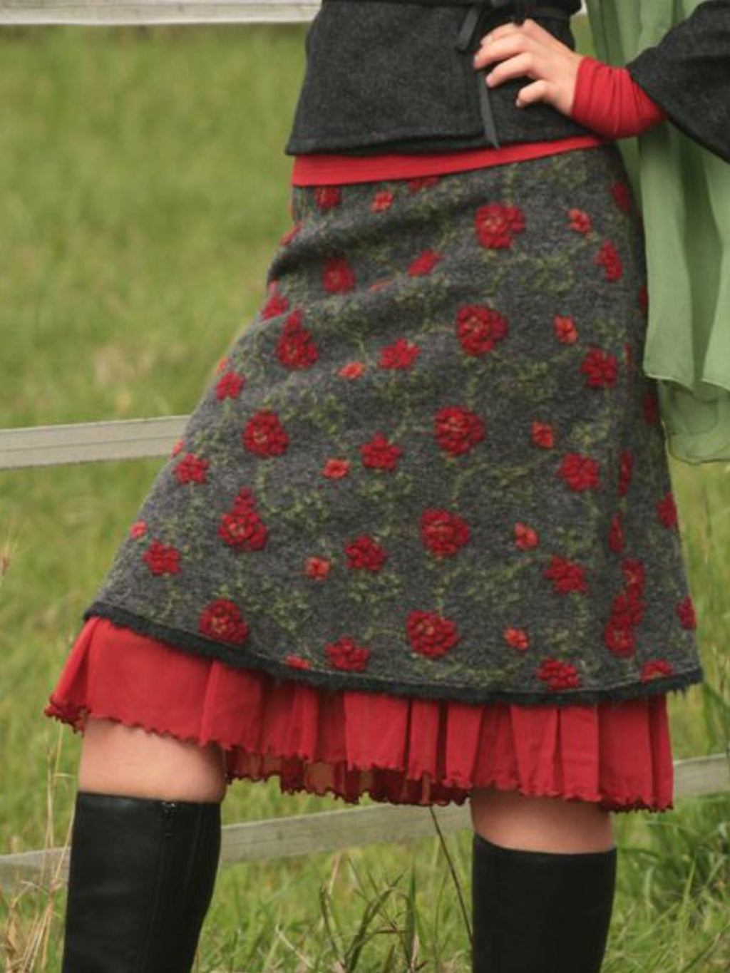 Wool Blend Vintage Floral Paneled Women's Skirts