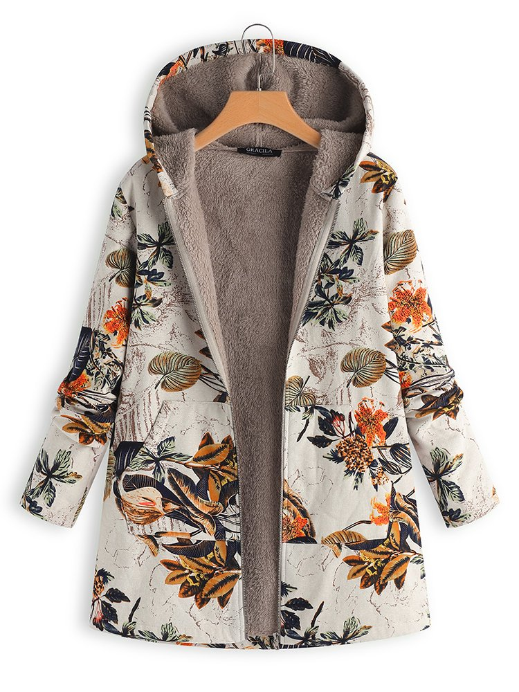 Floral Long Sleeve Hoodie Pockets Winter Plus Size Coat