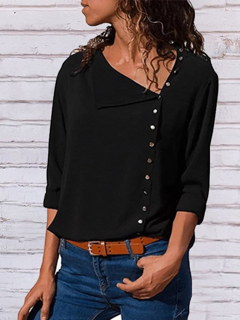 Shift Long Sleeve Casual Solid Buttoned Blouses