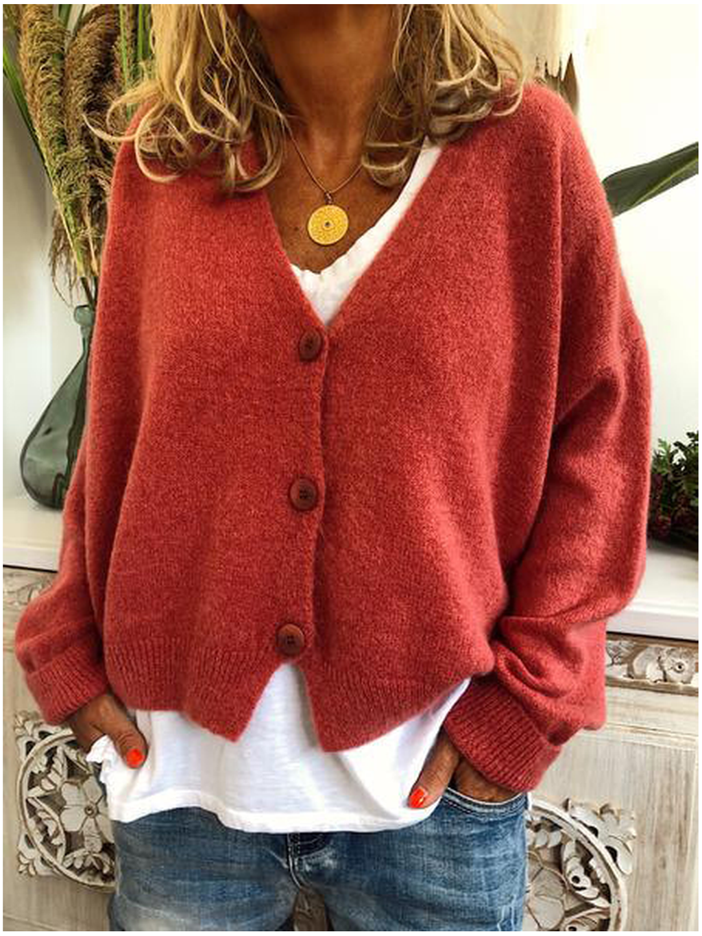 V Neck Long Sleeve Knitted Casual Cardigan