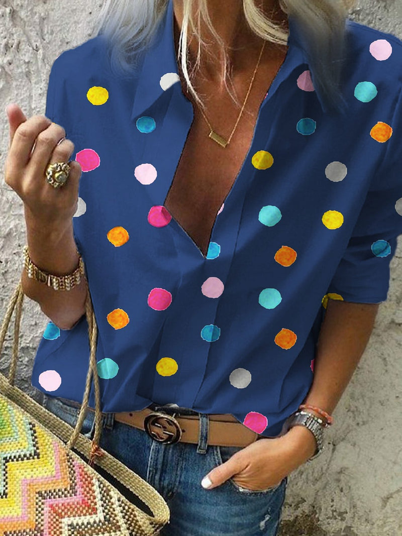 Shawl Collar Polka Dots Casual Tops