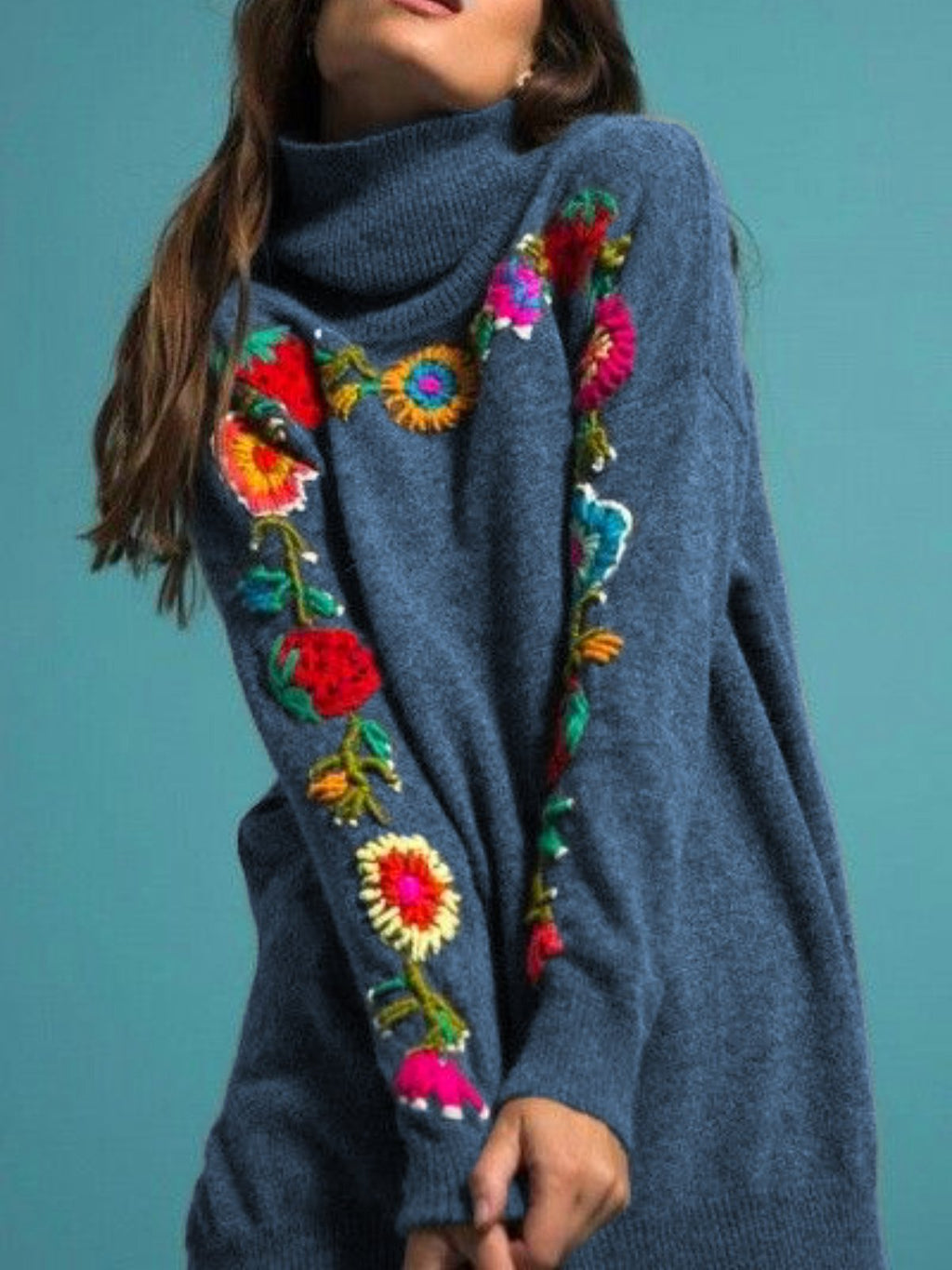 Turtleneck Flocked Floral Casual Long Sleeve Sweaters