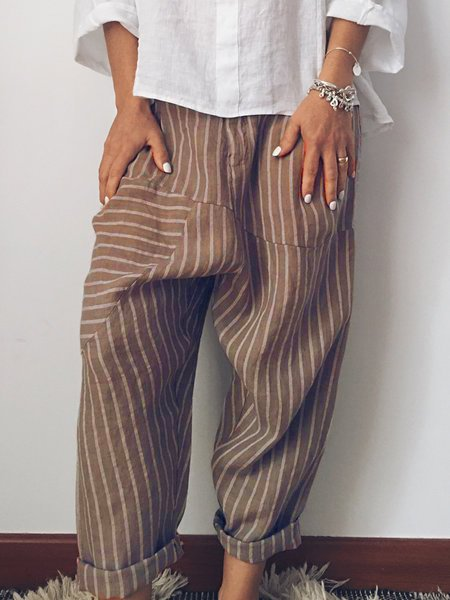 Women Printed Striped Paneled Casual Pants