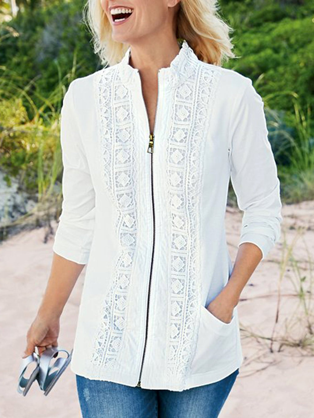 Women V-neck Half Sleeved Floral Zipper Casual Blouse