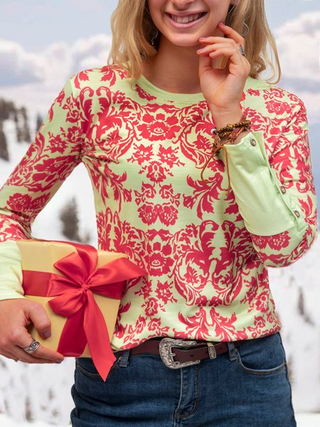 Red Cotton Floral Casual Shirts & Tops