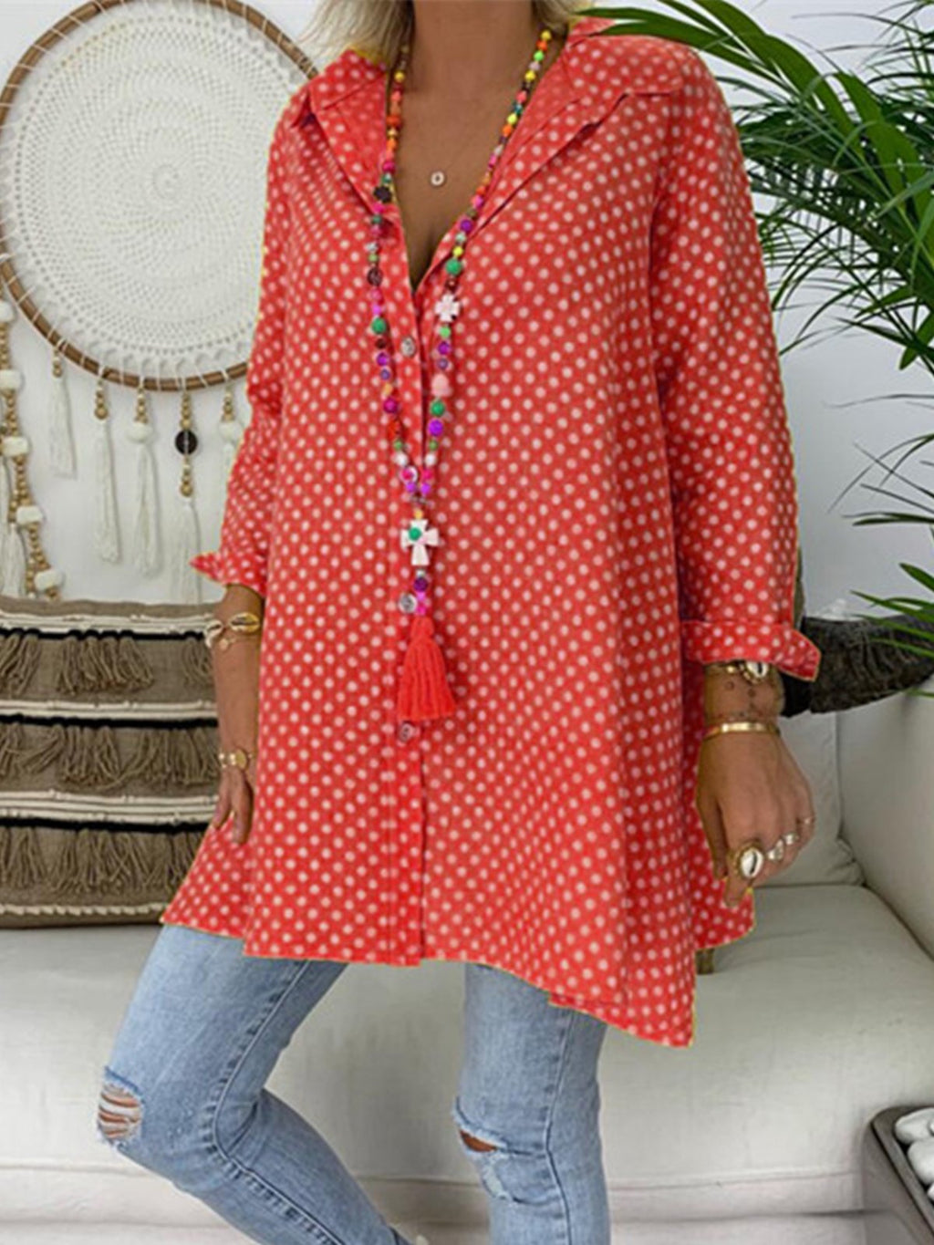 Long Sleeve Polka Dots Shirt Collar Vintage Blouse