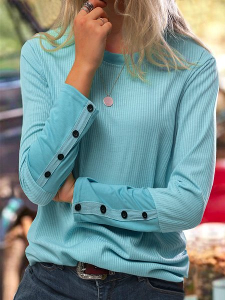 Long Sleeve Solid Cotton Round Neck Blouses