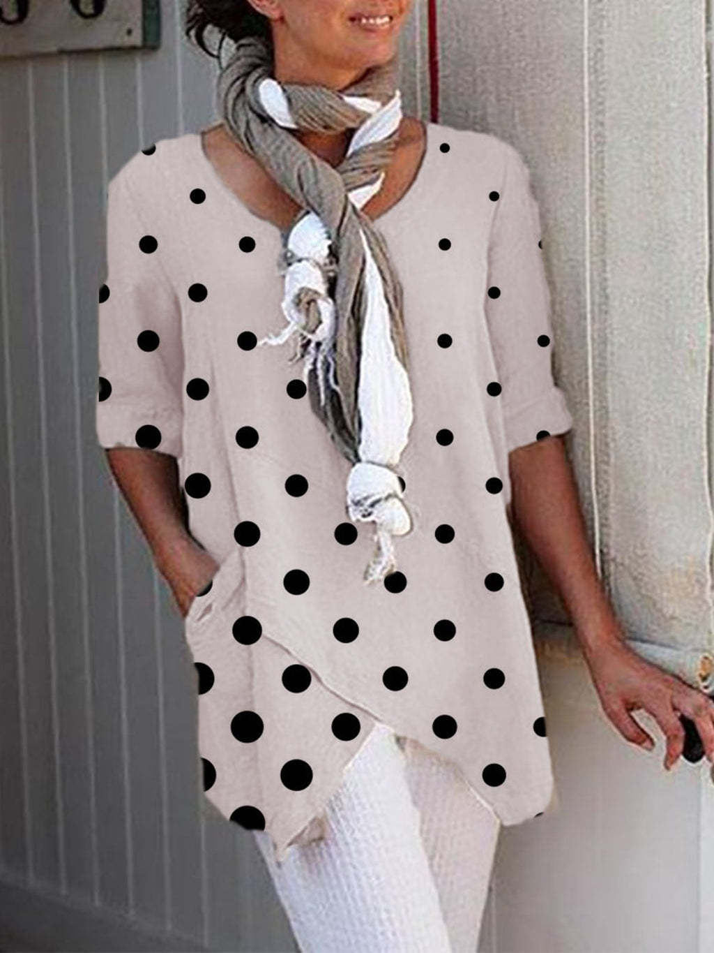 Casual Crew Neck Polka Dots Plus Size Blouses