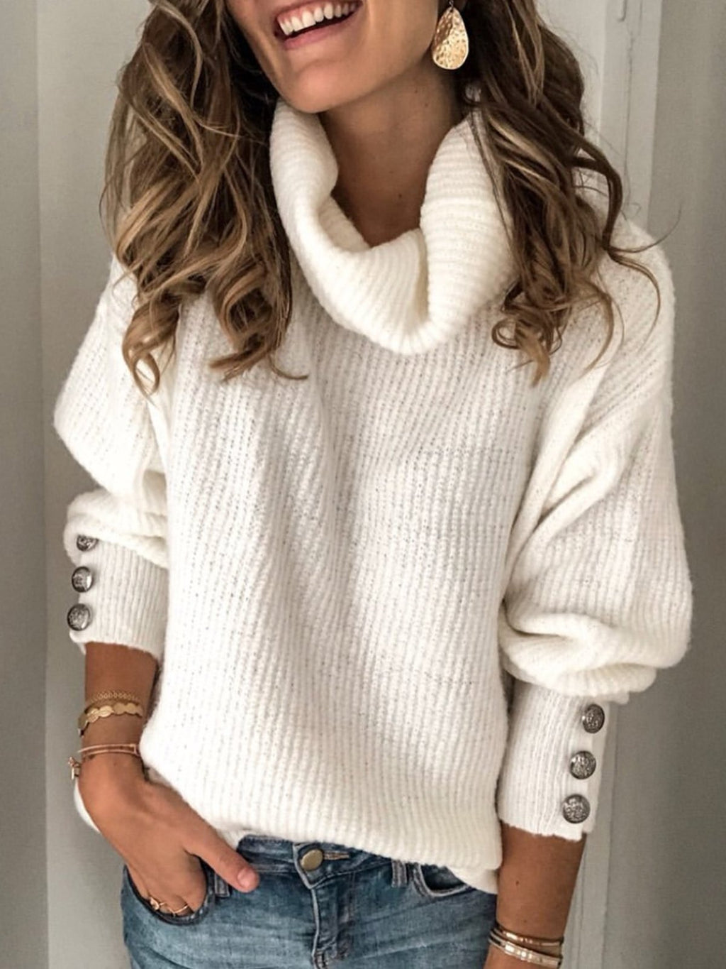 Plain Turtleneck Buttoned Casual Sweaters