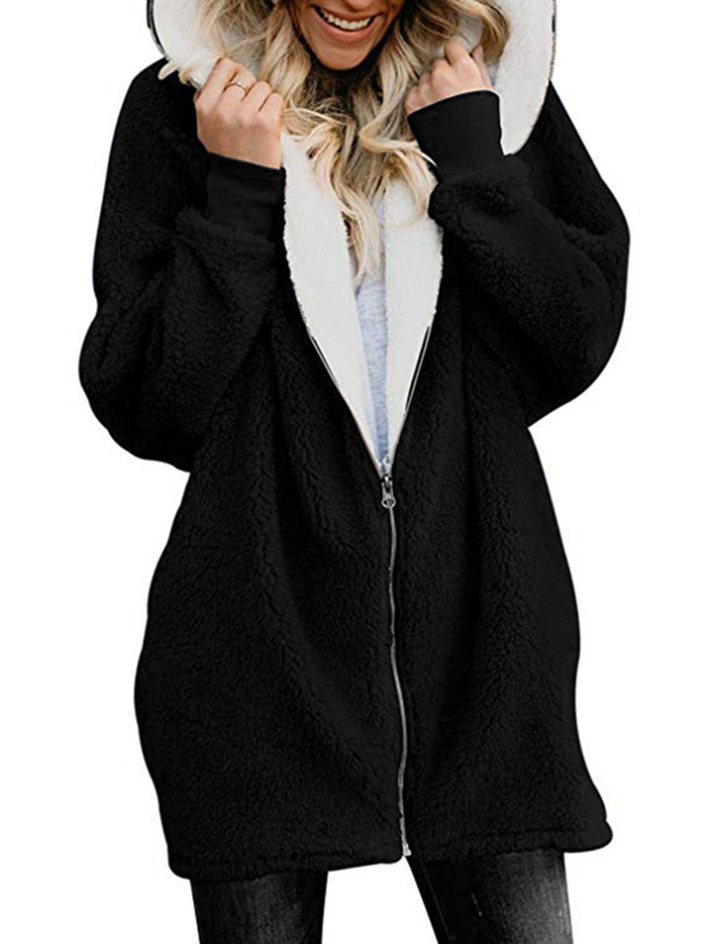 Zipper Cashmere Solid Sweet Long Sleeve Hoodie Teddy Bear Coats