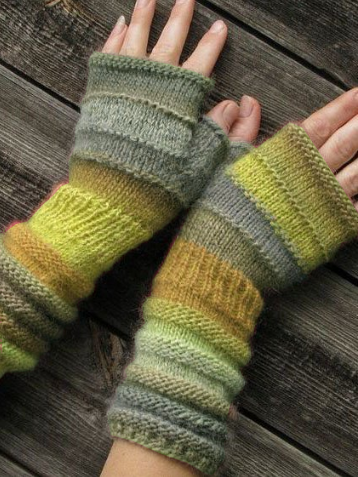 Vintage Color Block Striped Gloves & Mittens