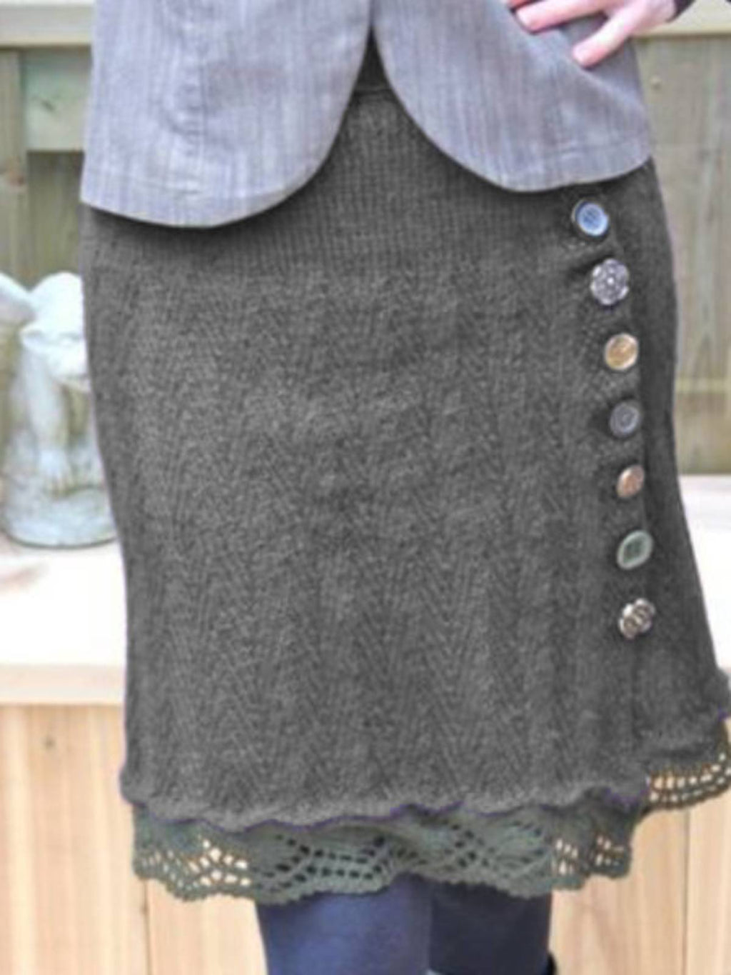 Buttoned Knitted Women's Skirts