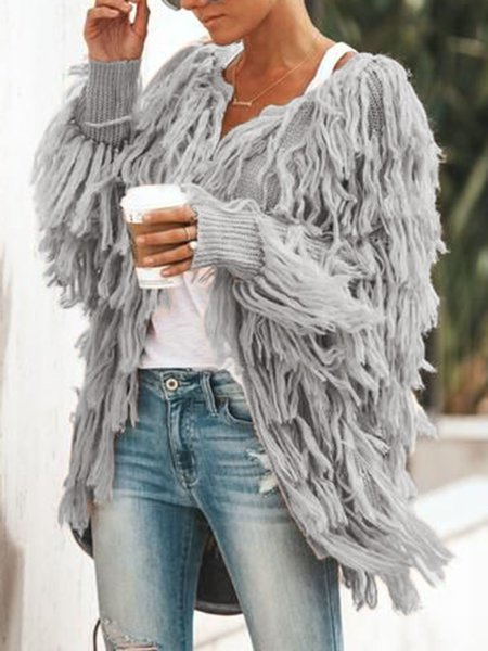 Casual Solid Fluffy Fringed Women's Coats