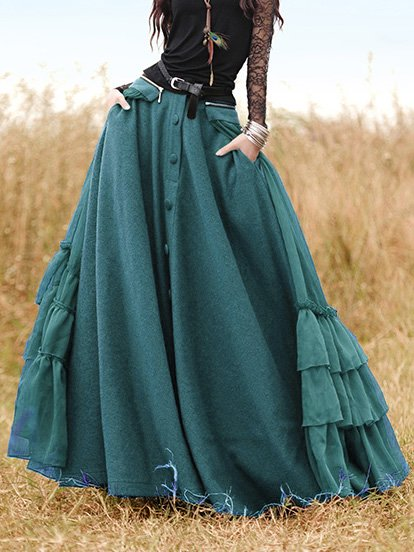 Solid Buttoned Paneled Vintage Women's Skirts