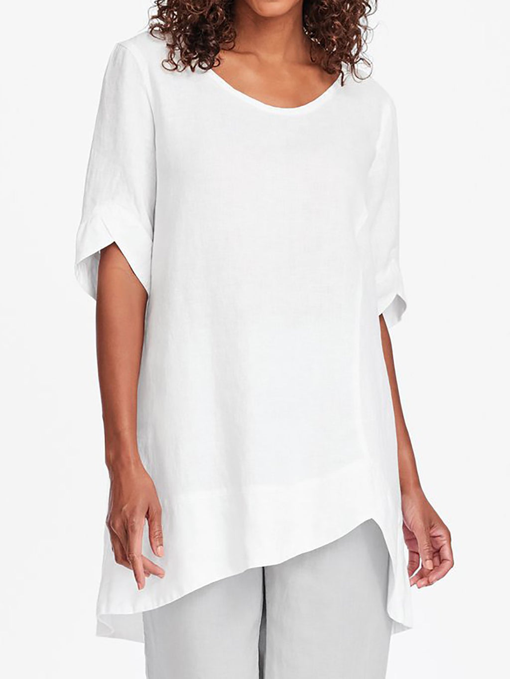 Asymmetrical Hem Short Sleeve Plus Size Shirts Tuni