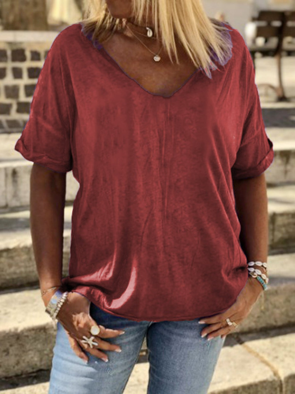 Plain Cotton-Blend V Neck Casual T-Shirt