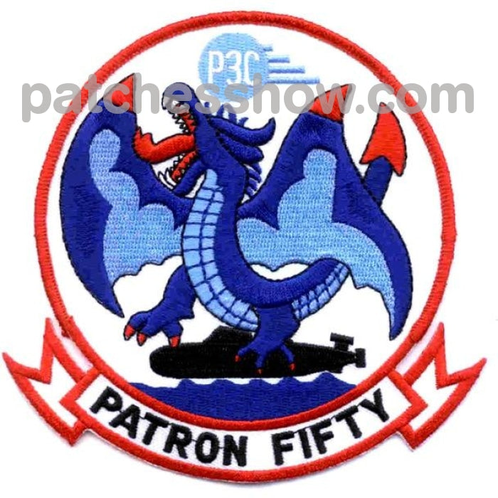 Vp-50 Patch P3C Patron Fifty Blue Dragons Military Tactical Patches Embroidered Sew On Or Iron On