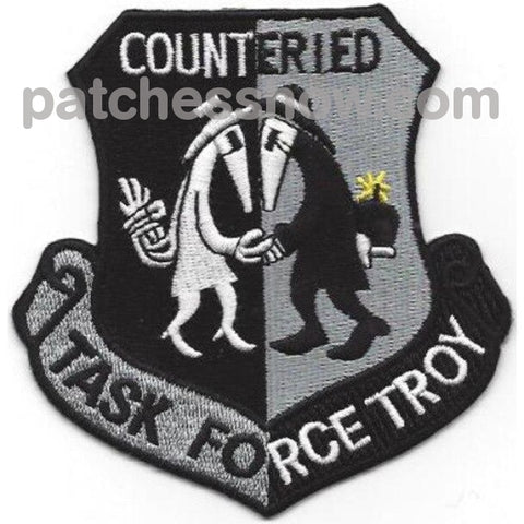Task Force Troy Counter Improvised Explosive Device Patch Silver Military Tactical Patches