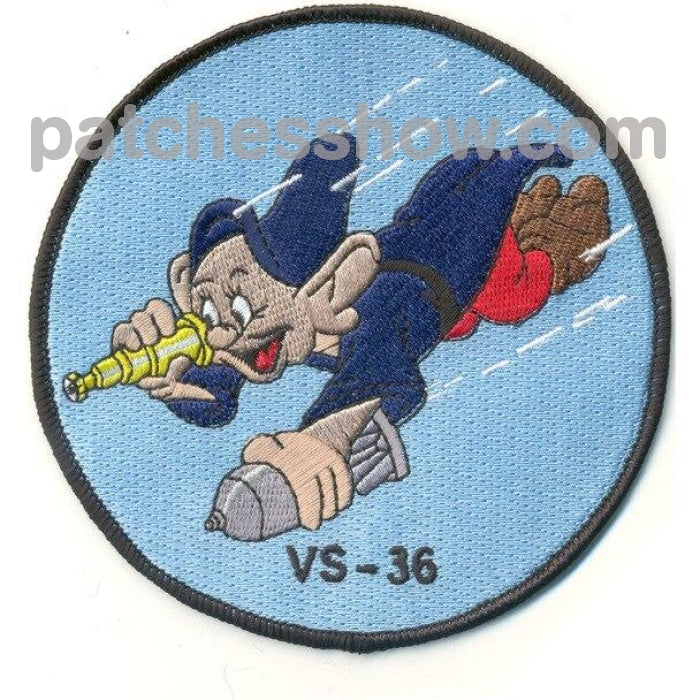 Vs-36 Aviation Air Anti-Submarine Squadron Thirty Six Patch Dopey Wwii Military Tactical Patches