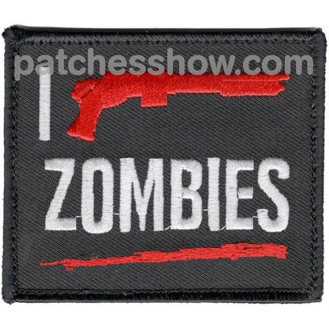 I Shotgun Zombies Patch Hook And Loop Military Tactical Patches Embroidered Sew On Or Iron On Velcro