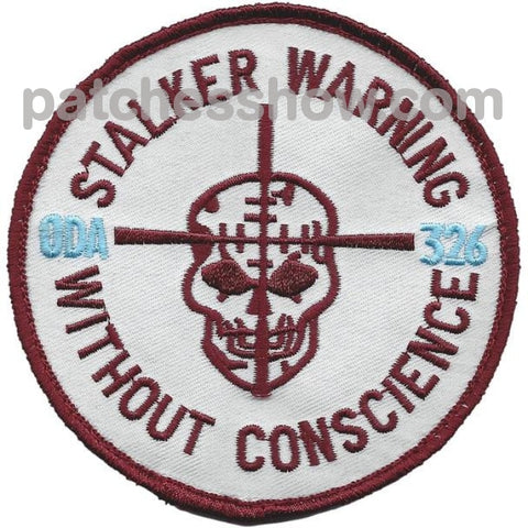 Oda-326 Stalker Warning Without Conscience Patch Hook And Loop Military Tactical Patches Embroidered