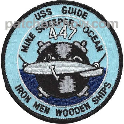 Uss Guide Mso-447 Mine Sweeper - Ocean Ship Patches Military Tactical Patches Embroidered Sew On Or