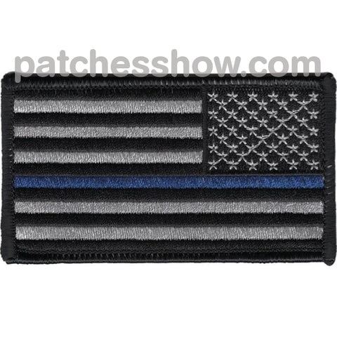 Thin Blue Line Flag Patch Right Shoulder Or Revers Facing Military Tactical Patches Embroidered Sew