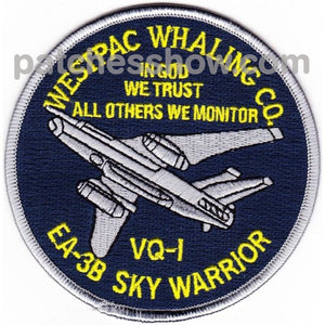 Vq-1 Patch Westpac Whaling Co. Ea-3B Sky Warrior Military Tactical Patches Embroidered Sew On Or
