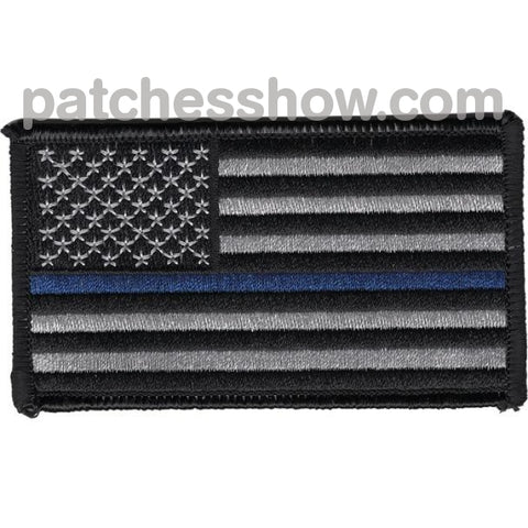 Thin Blue Line Flag Patch Left Shoulder Or Regular Facing Military Tactical Patches Embroidered Sew