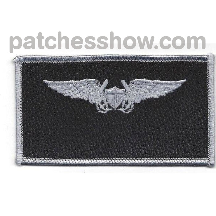 Naval Flight Officer Name Tag Patch- Silver And Black Military Tactical Patches Embroidered Sew On