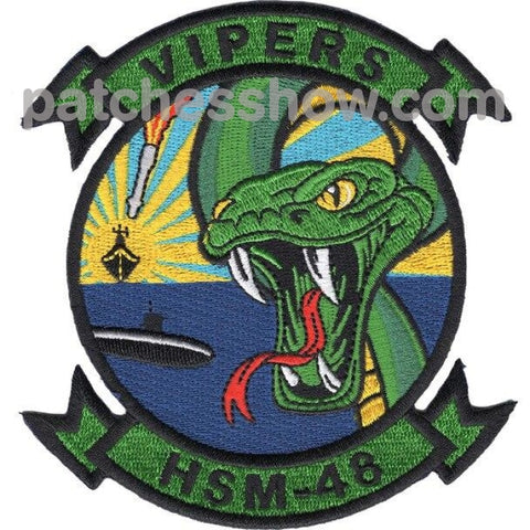 Hsm-48 Patches - Helicopter Maritime Strike Squadron Vipers Military Tactical Patches Embroidered
