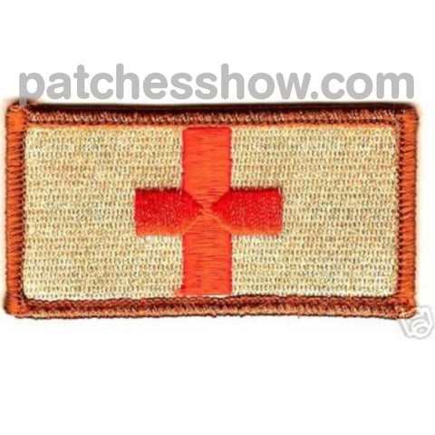 Medic Red Cross Patch - Desert Military Tactical Patches Embroidered Sew On Or Iron On Velcro Usa