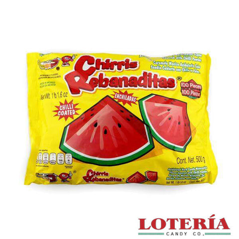 Enjoy these mouthwatering watermelon flavored hard candy covered with a deliciously tangy chili coating.