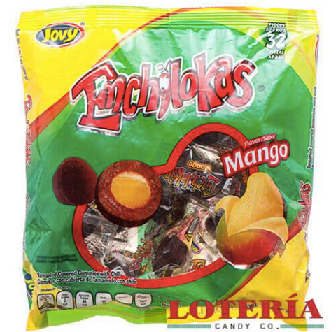 Enchilokas are Tamarind & chili covered gummy balls.