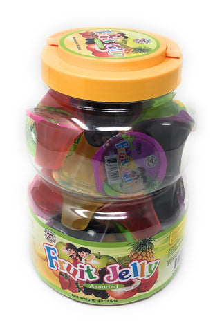 Fruit Jelly is a jelly-style sweet with several delicious fruit flavors. Strawberry, Mango, Apple, Grape and Pineapple.