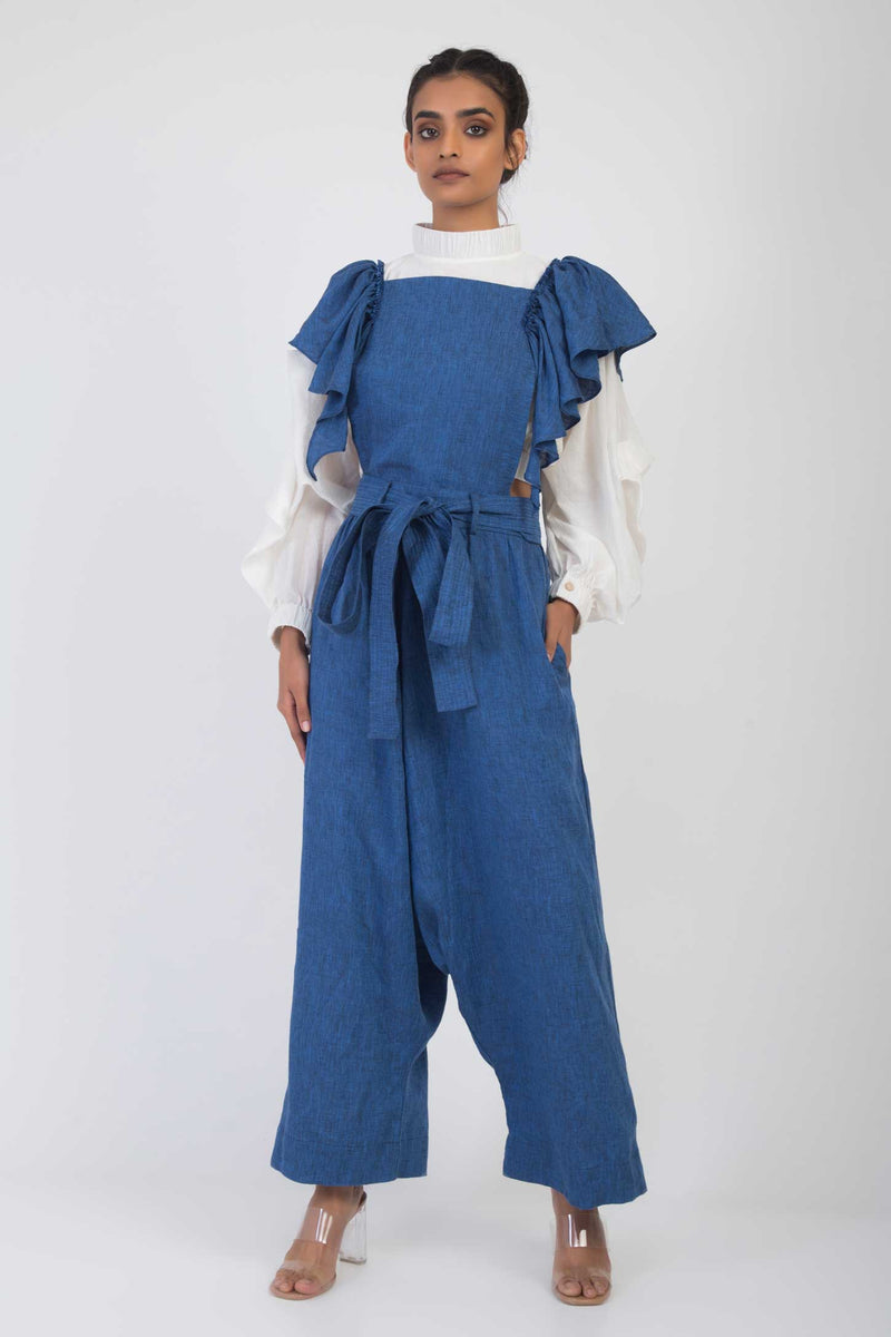 Amy Pinafore Frill Jumpsuit
