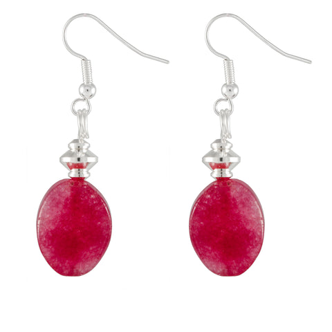 Kyanite Oval Drop Earrings Tinted Bright Pink With Silver Plated Detail