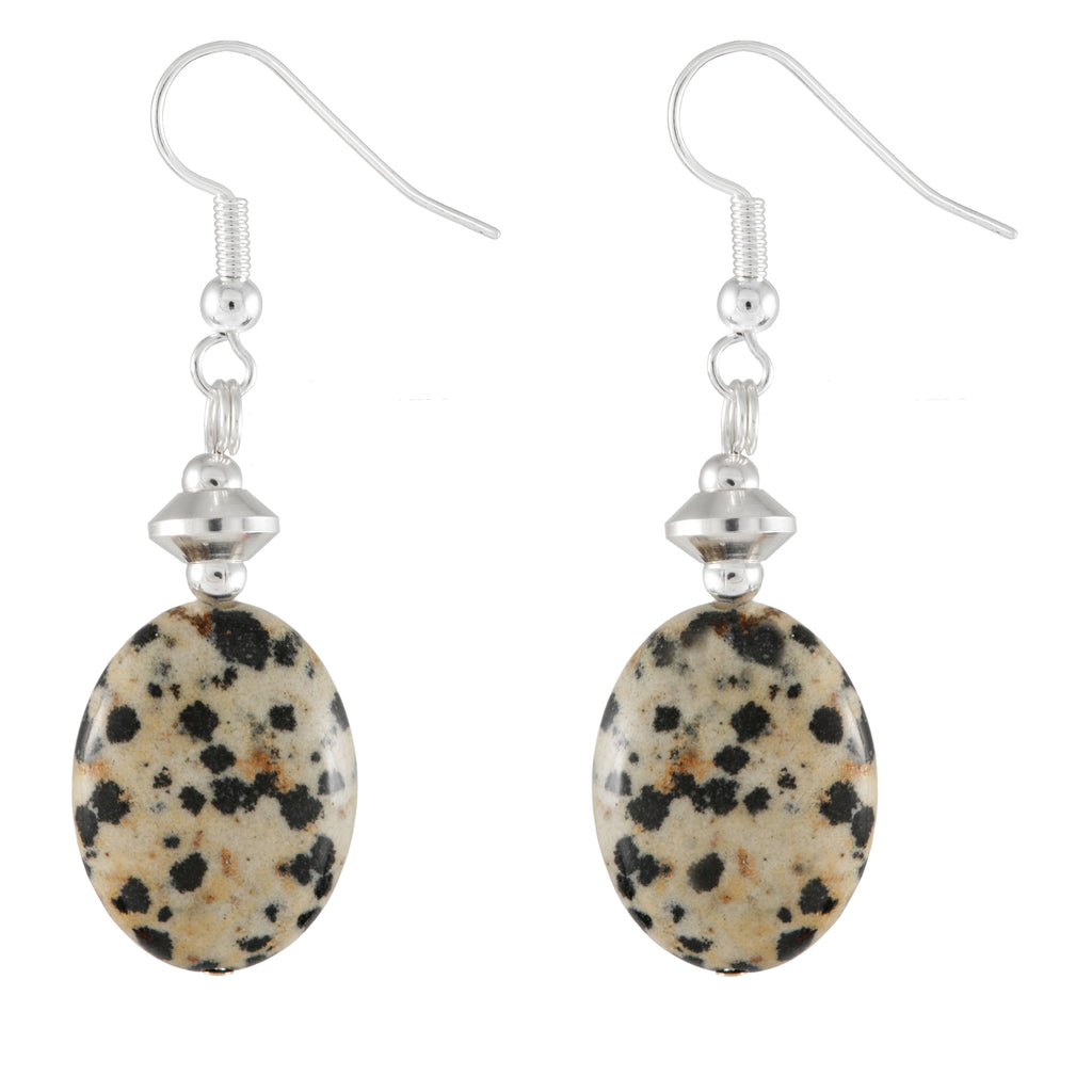 Dalmation Jasper Cream and Black Oval Drop Earrings Made in Ireland