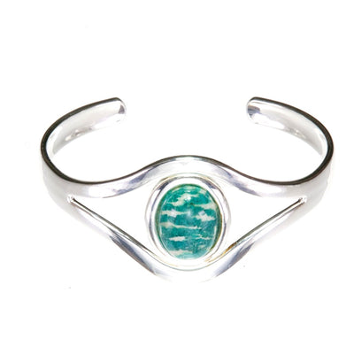 Amazonite turquoise silver plated bangle, bracelet, cuff, with 18 x 13mm amazonite cabochon