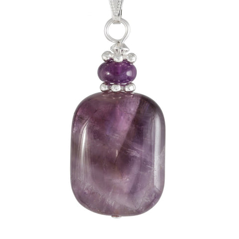 Amethyst purple necklace with rectangular  amethyst pendant and silver plated snake chain