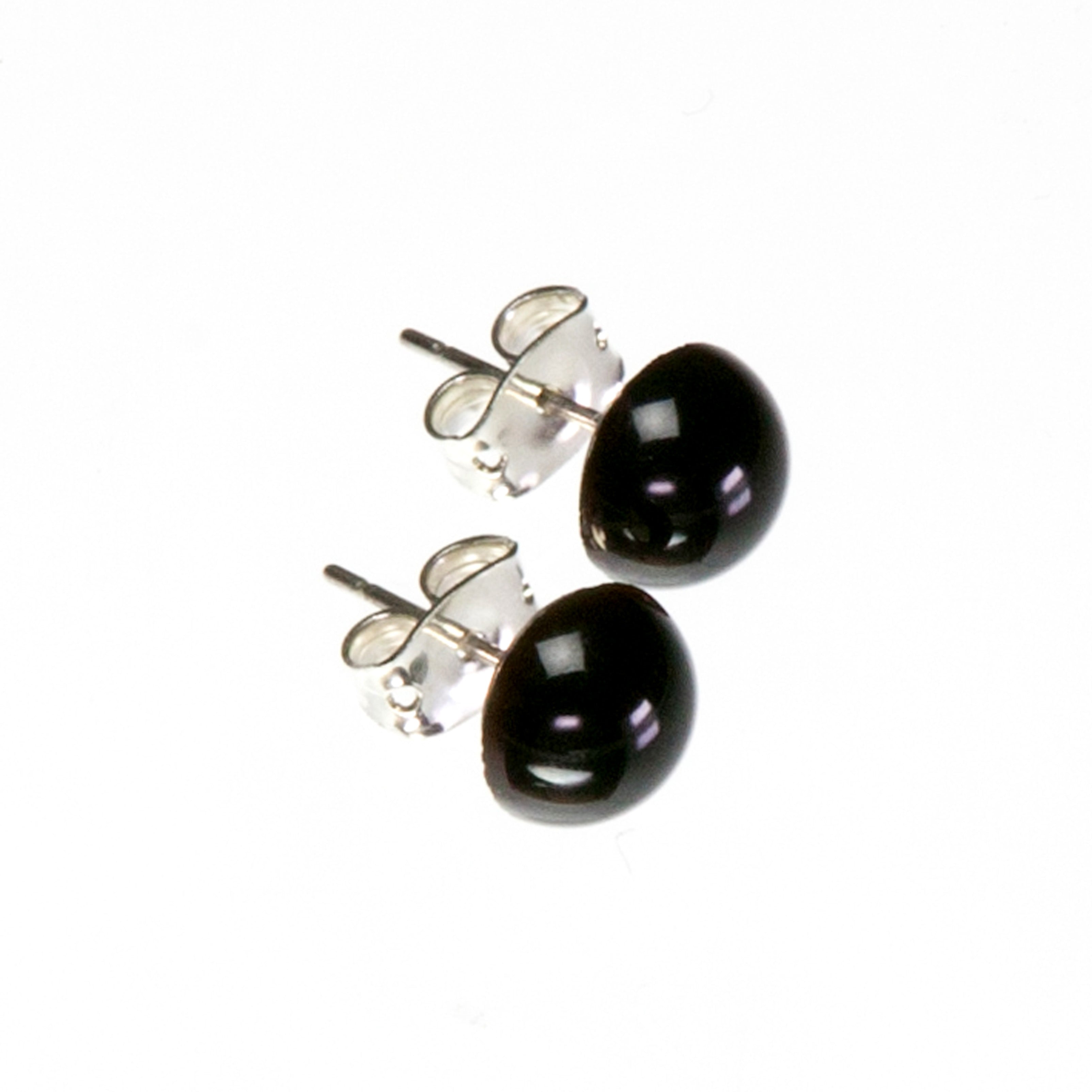 Black Agate Stud Earring