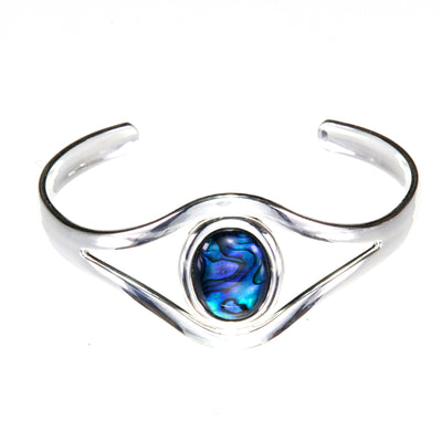 Blue Abalone Adjustable Bangle bracelet cuff. the oval abalone cabochon has swirls of blue and green patterning