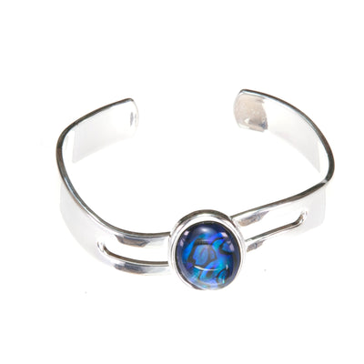 Rich Dark Blue and Green Abalone  Shell Adjustable Wave Bangle Bracelet Cuff