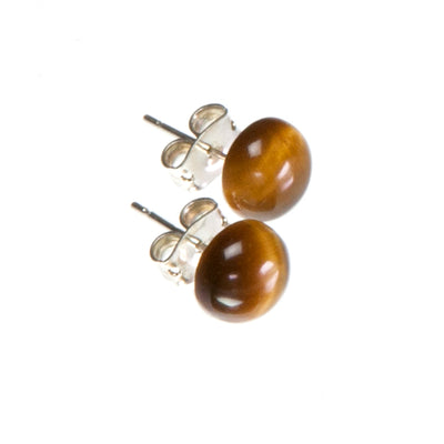 Brown Tiger's Eye Stud Earrings