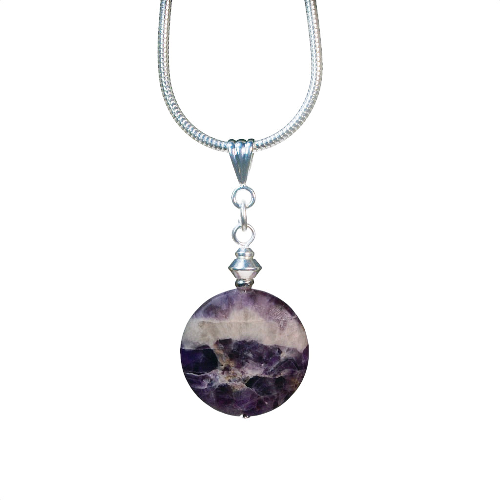 Purple and white Cape Amethyst disc necklace