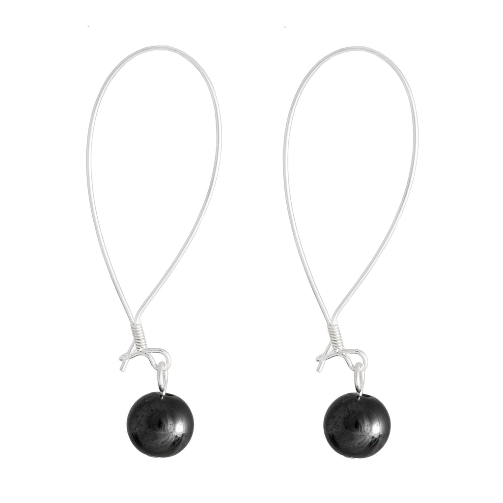 round globe grey hematite earrings on long closed earring hook