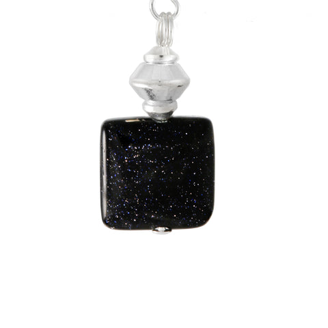 Blue Goldstone Square Drop Earrings With Silver Plated detail