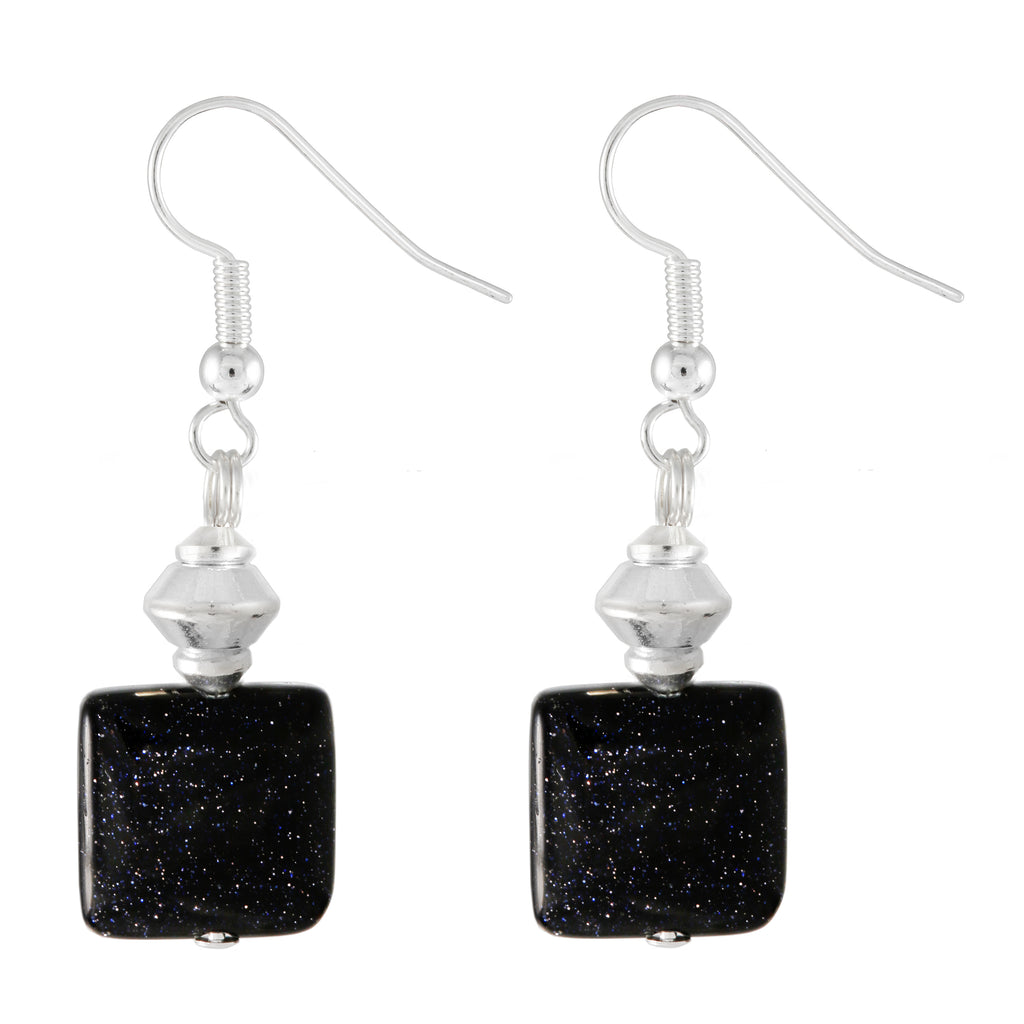 Blue Goldstone Square Drop Earrings With Silver Plated Hooks