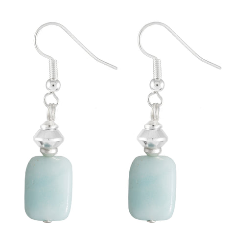 Amazonite Pale Turquoise Rectangular Earrings
